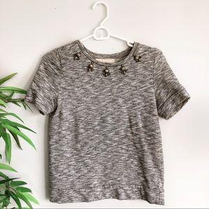 LOFT Sequin Embellished Sweatshirt Tee Gray